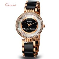 pulsera de perlas relojes mujeres al por mayor-KIMIO Pearl Scale Crystal Diamond Rolling Bracelet Relojes de Marca de Moda de Lujo Señoras Reloj Mujeres Reloj de Cuarzo Reloj