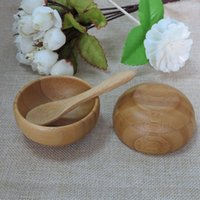 Wholesale Mask Beautiful - Free shipping 50g Bamboo mask small bowl beautiful child bamboo bowl mask bowl with free spoon
