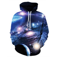 Wholesale Mysterious Black - Long Sleeve Mysterious Galaxy Pattern 3D Painted Hoodie