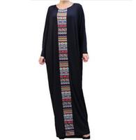 Wholesale aztec xl - Black Caftan Maxi Dresses Women Plus Size Kaftan Abaya Oversized Dress Aztec 2017 Loose Waist Long Robe Bat Sleeve Dashiki Casual Vestidos