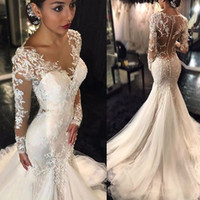 Wholesale Asymmetrical Wedding Dress Sleeves - Trumpet Mermaid V-neck Long Sleeves Lace Court Train Tulle Applique Lace Wedding Dresses Illusion Back Back Bridal Dress with Pick Up Skirt