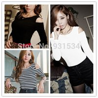 Wholesale Korea Woman Sexy Hot - Hot Sale 2015 Korea Spring Autumn Casual Women Off Shoulder Striped Basic Shirt Long Sleeve Shirts Tops Ladies Sexy Blouse