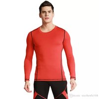 Wholesale Tight Long Red - Men's Tight Training PRO Sports Fitness Running Long Sleeve Elastic Quick Drying Pure Color Clothes