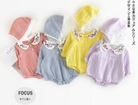 Wholesale Baby Lapel Romper - INS hot selling baby girl kids Lovely Lapel embroidery romper 100% cotton girls autumn long sleeve romper children clothing 4 color