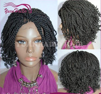 Wholesale braid black hair american online - Hot selling short kinky twist braided lace front wigs full hand tied synthetic hair wigs with curly tips for african americans