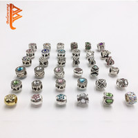 Wholesale Gemstone Coin Beads - BELAWANG Fashion DIY Accessories Big Hole Loose Beads Heart Shape Crystal Gemstone Charm For DIY Jewelry European Bracelet&Necklace Making