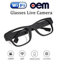 Wholesale Live Hidden Cameras - 2017 China Shanghai Hot Sale Living Stream full hd 1080p remote wireless hidden spy camera glasses