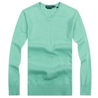 Wholesale Drop Shipping Computer - Brand New Men's V-neck Sweaters 100% cotton 16 colors 1pcs lot Plus size S-XXL men knited pullover drop shipping