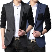 Wholesale Color Block Suit Jacket - Wholesale- Men suit Jacket Slim fit party blazer mens blue black color block blazers casual ceket korean fashion jaqueta college masculine
