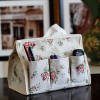 Wholesale Handkerchief Boxes Wholesale - New Pastoral Floral 6 pocket Tissue Box Napkin Cover Paper Holder Handkerchief Case Napkin Holder Tissue Box Cover