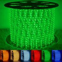 ingrosso corda luminosa-Alta brillante led 2 fili corda rotonda luce 100 metri impermeabile LED flessibile corda flessibile Flex PVC Disco Bar Pub festa di Natale LED Strip Lights