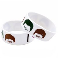 Wholesale one direction glow - 1PC 1D Bracelet I LOVE One Direction Silicone Wristband With Their Face And Name Debossed And Ink-Filled Colour