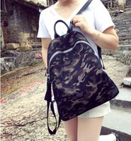 Wholesale Han Edition Leather Backpack - Waterproof nylon netting camouflage cloth with leather backpack han edition fashion female package travel backpack school bag wind tide