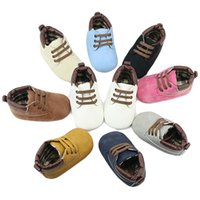Wholesale New Kids Bebe - New Infant Toddler Newborn Baby Shoes Kids Baby Girls Boys Shoes Bebe Soft Bottom Anti-slip T-tied Shoes