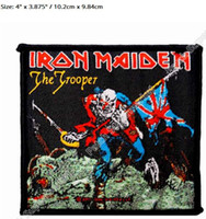 """Wholesale Diy Metal Badges - 4"""" Iron Maiden The Trooper Rock Music Band Heavy Metal Music Band Woven Iron On Patch TRANSFER MOTIF APPLIQUE Rock Punk Badge Diy"""