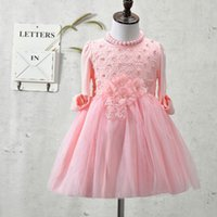 Wholesale Kids Dress Type - New Type Children Toddler dress, flowers pearls baby girls dress,christmas dress,kids clothes Ball Gown with Sparkling 3-9T pink