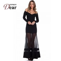 Wholesale Sexy Club Clothes Cheap Wholesale - Wholesale- RB70229 New long sleeve sexy dress summer unique design 2016 black dress off ther shoulder cheap clothes china women long dress