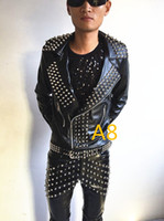 Wholesale Sexy Costume Jacket - leather rivets jacket pants costume black Ds performance fashion jazz dance wear metal slim PU pants sexy trousers nightclub bar singer