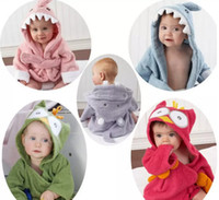 Wholesale Hooded Terry Robes - 2017 Kids Animal Bathrobe Toddler Girl Boy Baby Cartoon Pattern Towel Hooded Bath Towel Terry Wrap Bath Robes 18 styles