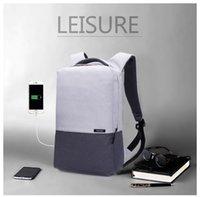 Wholesale European Travel Usb - Men Laptop Backpack For 15 16 inch USB Anti-theft Computer Backpacks Male Gray Bags Daypack Women Travel Bag Mochila