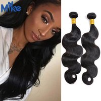 Wholesale Eurasian Wavy - Brazilian Body Wave Human Hair 2 Bundles MikeHAIR Wavy Hair Brazilian Weaves Weft Peruvian Malaysian Indian Eurasian Human Hair Extensions