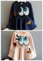 Wholesale Long Tunic Shirt Wholesale - 2017 Autumn Girl Cotton Long Sleeve Sequins Eyes Tunic Dress Children Baby Princess Tight Waist Dress Infant Toddler Long Casual T Shirts