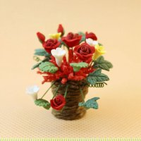 Wholesale Clay Furniture - G05-X4598 children baby gift Toy 1:12 Dollhouse mini Furniture Miniature rement mini Rose Morning Glory flower 1pcs