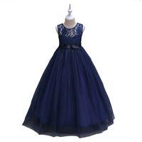 bata de concurso al por mayor-O-cuello lindo vestidos de niñas de flores azul marino de tul con arco una línea para niños desfile de cumpleaños vestidos de fiesta túnicas Filles Fleur para la boda