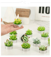 Wholesale flameless candles sale for sale - Hot Sale green succulent flameless candles ZAKKA Potted Plants Shape Scented Candle Lamp christmas party decorations candles Supplies