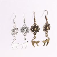 conectores de joyas de animales al por mayor-12 unids / lote Metal de Aleación de Zinc Flor Conector Animal Lindo Gato Colgante Encanto Gota Earing Diy Joyería Que Hace C0698