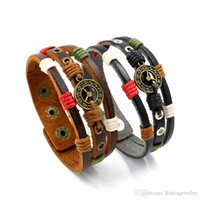Wholesale Onyx Watches - Retro knitted clock cowhide female charm bracelets Buckle wide leather watches and clocks couple jewelry circlet wholesale