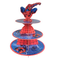 All'ingrosso-Spiderman Cartoon Design, Cupcake Stand, Stand per torta, Per compleanno / Baby Shower Party, Hold 24 Cupcakes, 3-Tier