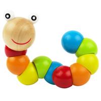insectos juguetes de madera al por mayor-Colorido Insectos Puzzles Niños Educativos Juguetes de madera Bebé Niños Dedos Entrenamiento flexible Ciencia Torciendo Gusano Juguetes