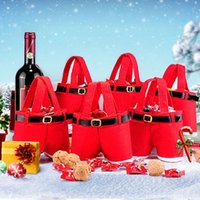 Wholesale Christmas Pouch Pants - Merry Christmas Gift Bag Wine Bottle Cover Bag Cute Candy Pouch Red Santa Pants Gift Bags for Wedding New Year