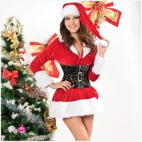 Wholesale Santa Costume Adult - New Arrival Hot sale Women Sexy Velent Christmas Santa Costume Adult Outfit Women Fancy Dress Attract