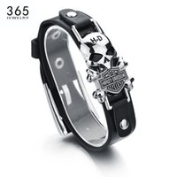 Wholesale Jewelry Box Designs Styles - Wholesale- New Design Hip Pop style Men Jewelry Zinc Alloy Leather Bracelet Ghost Rider Charm Biker Bracelet For Gift