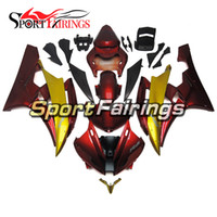 Wholesale Gold Yamaha - Complete Fairings For Yamaha YZF600 YZF R6 06 07 YZF-R6 2006 2007 Injection ABS Motorcycle Fairing Kit Motorbike Covers Red Gold New