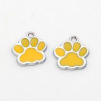 Wholesale Enamel Paw Charms - Hot ! 100pcs yellow Enamel Alloy Paw Print Charm Pendant DIY Jewelry 17x17.5mm