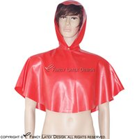 Wholesale Pink Browning Hoodie - Little Red Riding Hood Sexy Latex Cape With Button At Front And Hoodie Fetish Rubber Robe