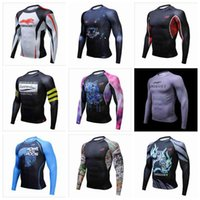 Wholesale Multi Layer T Shirt - Muscle Men 3D Prints Compression Shirts T-shirt Long Sleeves Thermal Under Top MMA Rashguard Fitness Base Layer Weight Lifting