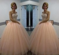 Wholesale Unique Prom Dress Lace Bodice - Unique 2017 Pink Sweetheart Strapless Ball Gown Tulle Quincenera Dress With Beaded Bodice Sweet 16 Princess Dress Quinceanera Dress Prom