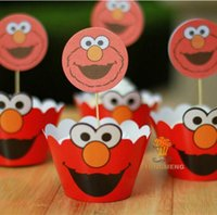 Wholesale Baby Cupcake Wrappers - Wholesale- 24pcs Anime Sesame Street Elmo cupcake wrappers toppers decoration kids baby birthday party supplies