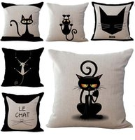 Wholesale Black Sofa Beds - Black Cats Pattern Pillow Case Cushion cover Linen Cotton Throw Pillowcases sofa Bed Pillowcover DROP SHIPPING