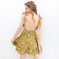 Wholesale Empire Knee Pads - Sexy backless padded print summer dress women Summer v neck beach bohemian vacation dresses Boho strap yellow short holiday dress 2017 new