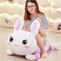 120cm Big Lovely Soft Cartoon Lying Bunny Peluche en peluche 47 '' Grand Peluche Animal Rabbit Toy Pillow Girl Present
