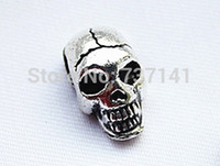 Wholesale Silver Skull Charms - Free Shipping 50 pcs lot Charm Metal Skulls Beads For DIY Paracord Bracelets Knife Flashlight Lanyards Pendant Accessories