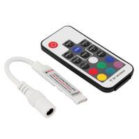 mini controlador sem fio rf venda por atacado-Controlador Remoto Sem Fio LED RGB Mini Controlador DC5-12V 12A 17key RF Para 5050 3528 RGB LED Tira
