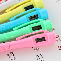 Wholesale Birthday Party Prizes - multi function ball point pen with time clock pen kids students office prize gift watch pen birthday party gifts