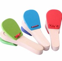 Lovely Kids Baby Wooden Castanet Clapper Handle Musical Instrumento de percussão Toy Preschool Early Educational Hand Clapper