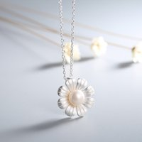 Wholesale Silver Fresh Water Pearls - S990 silver pearl necklaces pendants fresh water pearl necklace S990 pure silver sunflower sweater chain fashion jewelry A533